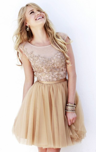 nude dress prom dress short prom dress lace dress homecoming dress party dress cocktail dresses champagne dress champagne prom dress sherri hill