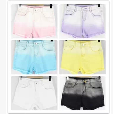 new 2014 women shorts Multicolor gradient tie dye dream ice cream high waist thin shorts high waisted jeans shorts free shipping-in Shorts from Apparel & Accessories on Aliexpress.com