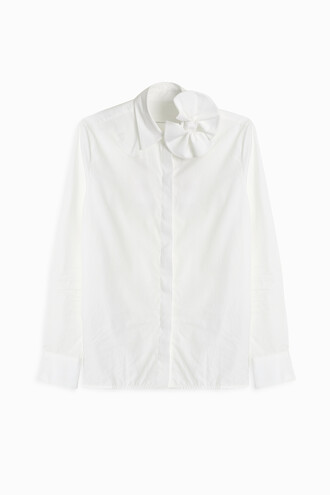 shirt bow white top