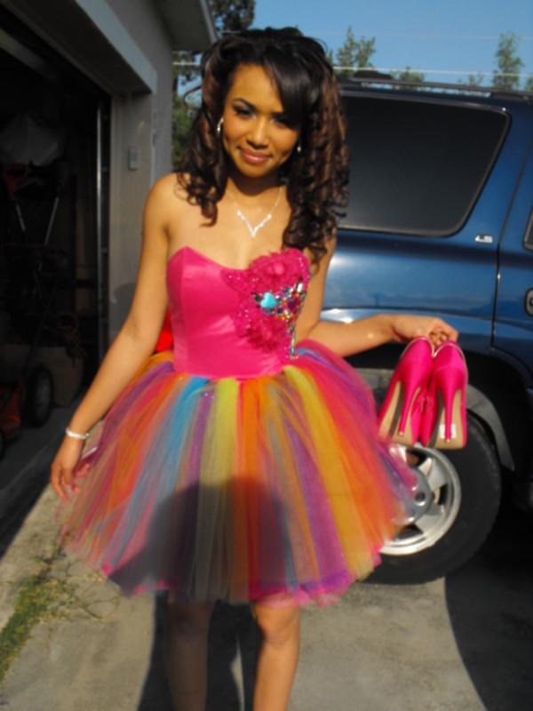 dress, prom dress, pink prom dress, colorful, short dress, short ...
