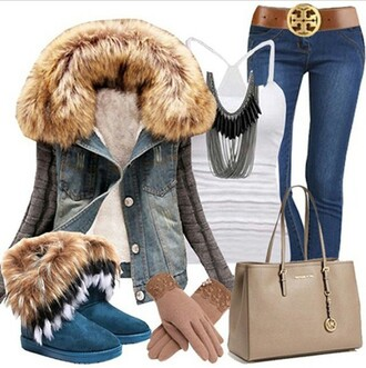 blouse ugg boots fab fur coat denim jacket white top belt jeans gloves purse bag