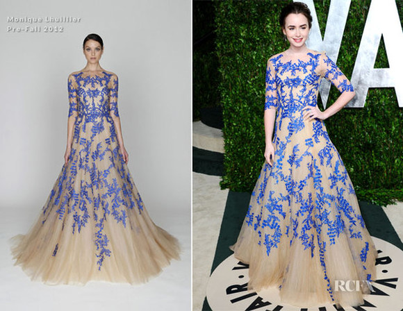 lily collins dress 2012 vanity fair oscar blue lace dress long evening dress elegant
