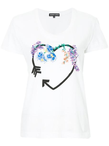 Markus Lupfer t-shirt shirt t-shirt heart women embellished white cotton print top