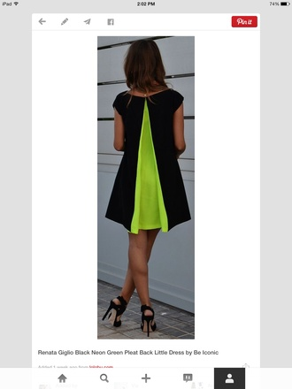 neon green shift dress swing dress pleated dress