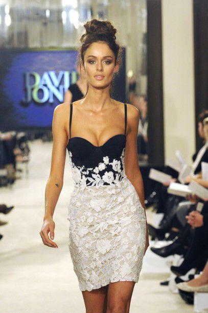 2014 runway spaghetti traps sweetheart black top ivory skirt party dresirt lace sheath mini short slim party dress fashion little dress cute online with $84.56/piece on wholesaledresses2012's store