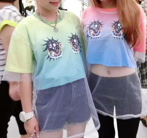 Harajuku zipper gradient splicing watery eyes sparkling screen printed t-shirts