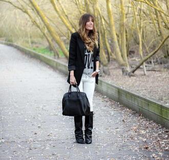 rebel attitude blogger t-shirt white jeans blazer black boots