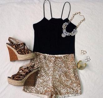 shorts cheetah wedges sparkly shorts black crop top jewels jumpsuit