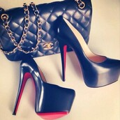 shoes,chanel,louboutin,black,red,purse