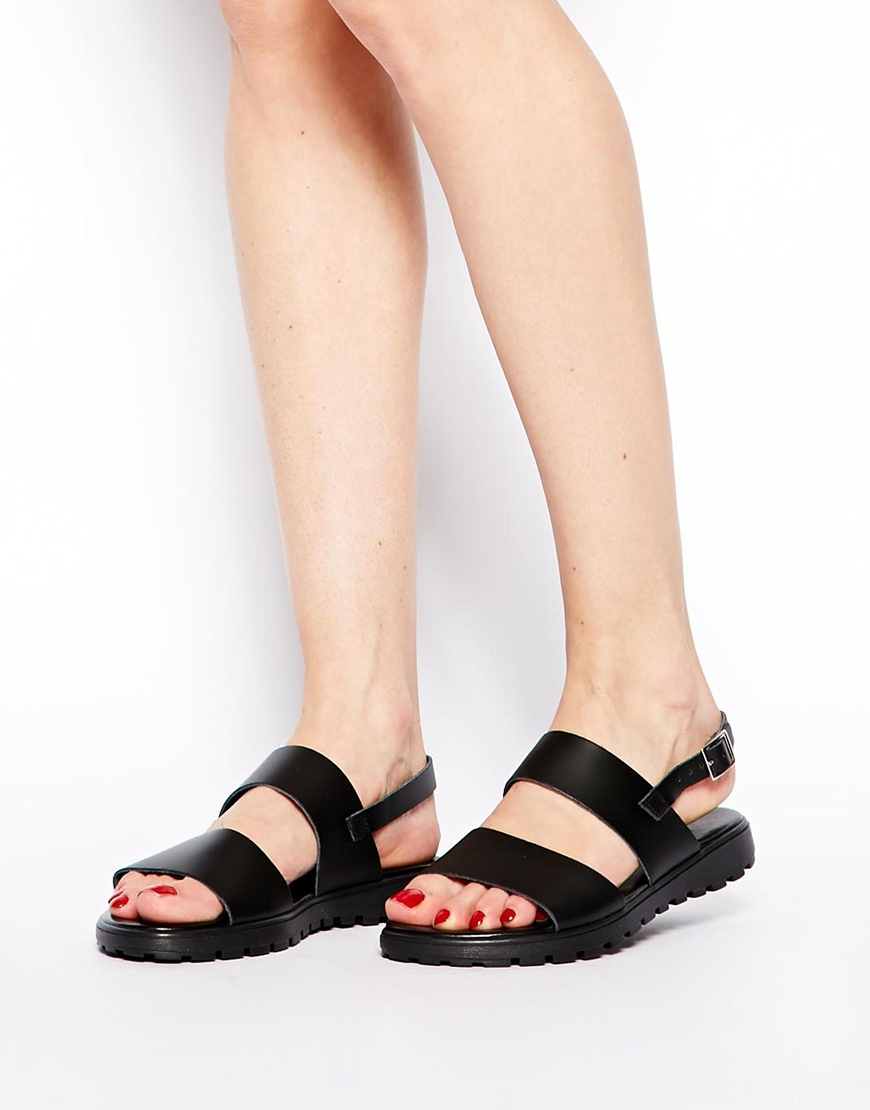 ASOS FAMOUS LAST WORDS Leather Flat Sandals at asos.com