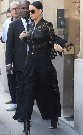 jacket jacet backpack lace katy perry fashion week 2015 bag pants all black everything lace pants culottes
