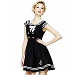 Hell Bunny Sakura Nautical Dress in Black