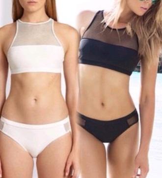 swimwear mesh swimwear white black bikini