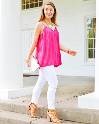 a lonestar state of southern blogger jewels pink top statement necklace clutch white jeans thick heel