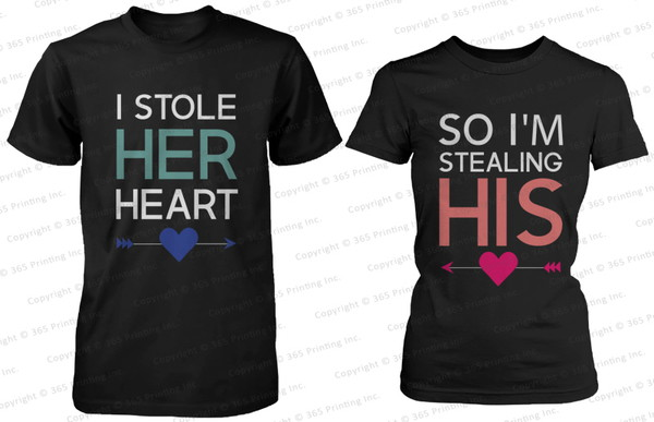 matching shirts for couples matching couples matching shirts matching couples his and hers gifts his and hers shirts couple couple shirts couples shirts newlyweds gift i stole her heart so i'm stealing his shirt