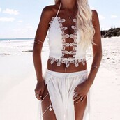 top,white,white lace,whiet crochet,crochet,lace,embroidered,sexy s,exy top,sexy crop top,white crop tops,crop tops,lace crop top,summer,summer top,summer crop top,summer holidays,cool,hot,cute,cute top,sleevless,beach,beach top,sexy lace top,deep v,deep v top,plunge v neck,plunge top,plunge neckline,hollow out,hollow out top,two piece skirt set,lace dress,white dress,stylish,sexy top,sexy party top,backless,open back,backless top,crochet  top,lace top,spaghetti strap,sexy,bodycon,tight,musthave,preppy,pretty,sweet,streetwear,streetstyle,urban,american apparel,asos,style,stylish top,style scrapbook,lookbook,sexy party dresses,party,clubwear,club top,sequins,fashion toast,fashion vibe,fashion is  a playground,fashionista,a fashionista,preppy fashionist,fashion inspoo,fashion coolture,tumblr,tumblr top,tumblr crop top,sexy bikini,white bikini,tumblr bikini,moraki,all white everything,white lace dress,holiday season,le fashion image