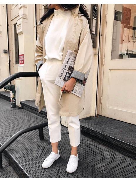 coat beige coat white vintage