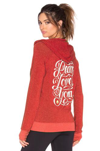 hoodie beach love peace yoga red