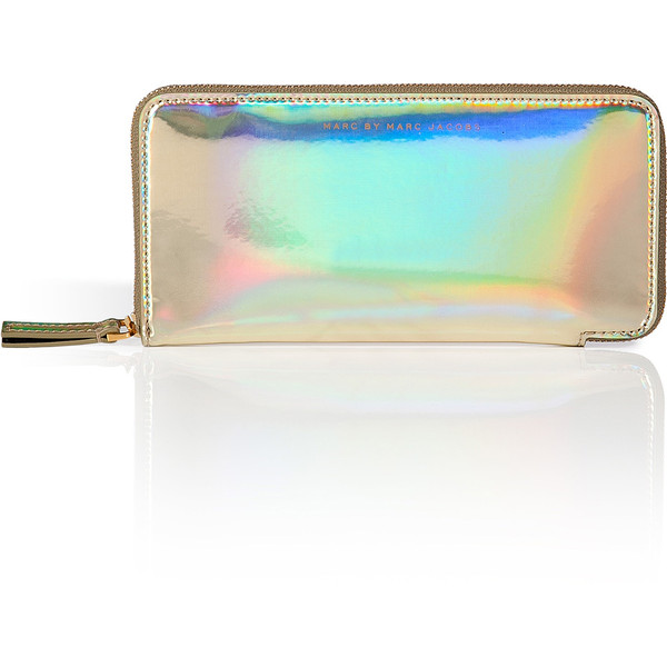 Around wallet in pale gold holographic