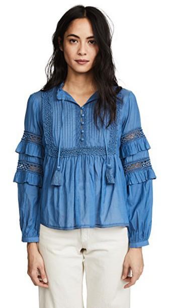 blouse long blue top