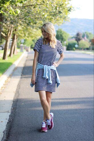 ivory lane blogger dress jacket stripes striped dress mini dress denim jacket burgundy shoes j crew