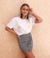 t-shirt,lemon,na-kd,lemongrass,make my lemonade,white top,white t-shirt,gingham,plaid skirt,mini skirt,black and white