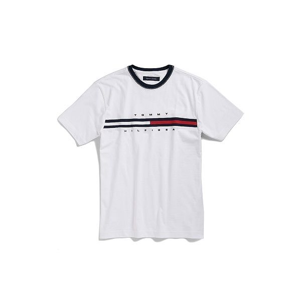 33d9051b8e Mens Classic Fit Tommy Hilfiger Striped Crew Neck T Shirt S M L XL 2xl  White Regular XS ...