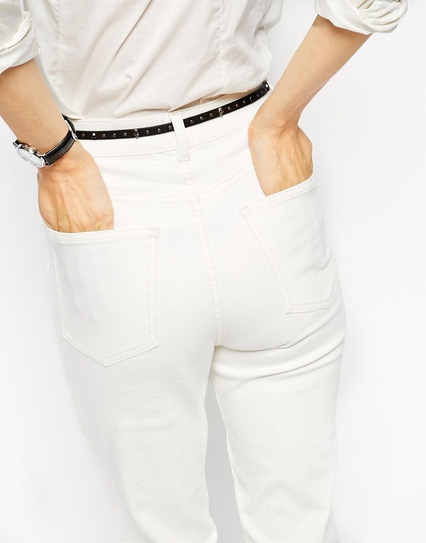 ASOS Farleigh High Waist Slim Mom Jeans In Off White at asos.com