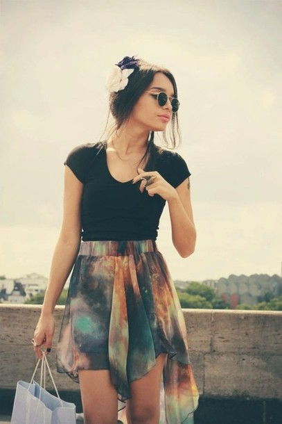 shirt rainbow galaxy print skirt pretty long short short skirt long skirt cute colorful