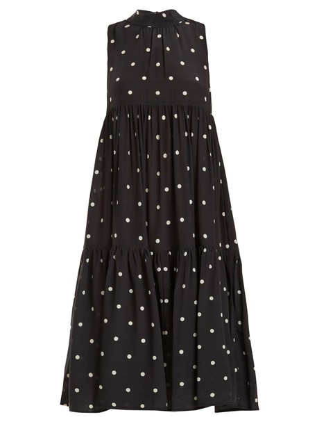 Asceno dress silk dress print silk white black