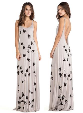 dress bqueen fashion girl sexy long dress chic party elegant evening dress swallows print halter neck straps