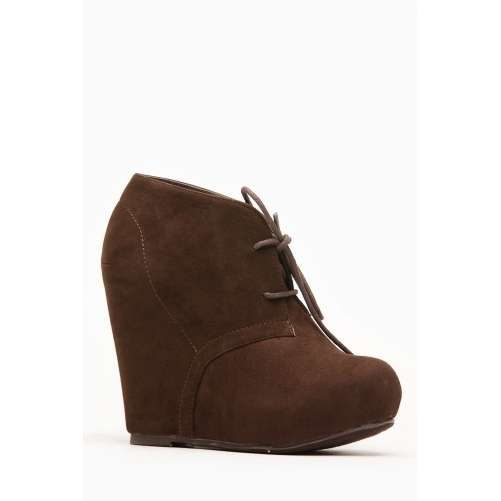 Faux Suede Almond Toe Desert Brown Booties @ Cicihot Wedges Shoes ...