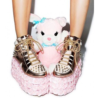 shoes yru zooshoo rose gold roses flatforms sneakers spikes and studs metallic shoes edgy kawaii