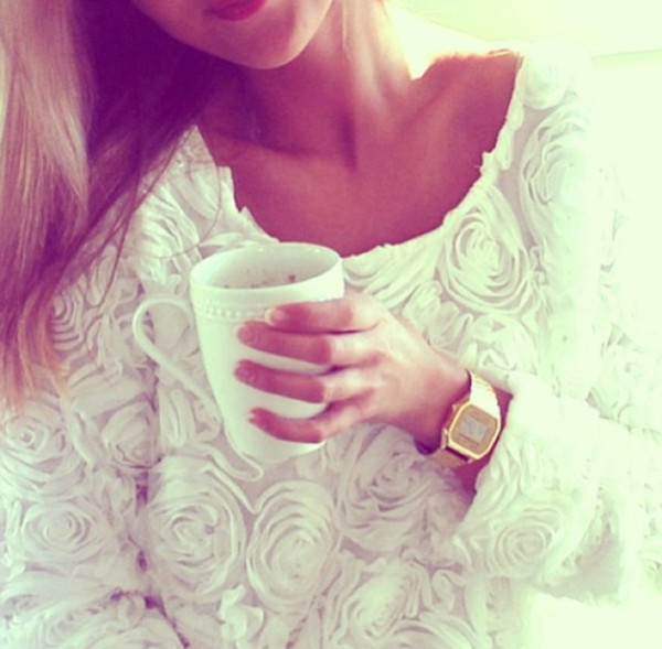 sweater floral white t-shirt