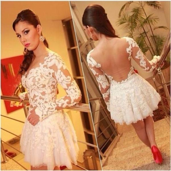 Cheap Short Homecoming Dress - Discount Appliques Lace Long Sleeve Cocktail Dresses Sheer V Online with $112.05/Piece | DHgate