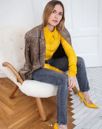 shoes yellow pumps blogger jeans pernille teisbaek instagram blazer spring outfits top blouse jacket