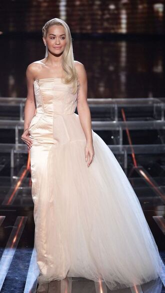 jacket prom dress gown red carpet dress rita ora strapless dress wedding dress tulle dress