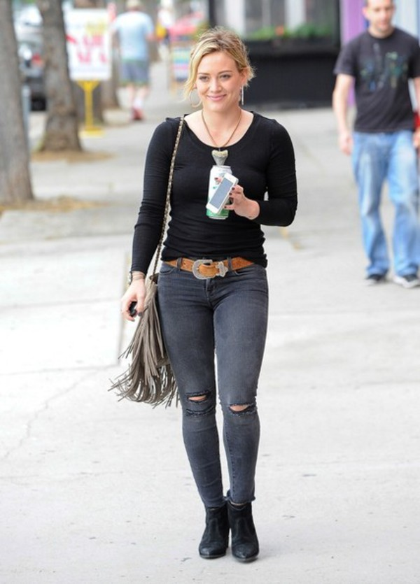 jeans boots hilary duff top shoes