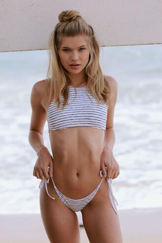 top bikini top black frankies bikini grey halter top stripes white bikiniluxe
