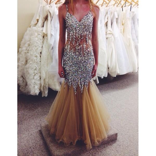 dress prom dress long prom dress sparkly dress sparkly dress jewels silver nude nude dress prom dress prom gown prom mermaid prom dress spagetti straps see through beautiful fashion long dress