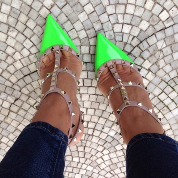 shoes green heels beige high heels studs neon