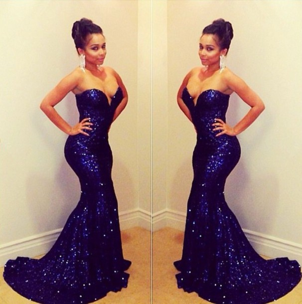 Aliexpress.com : buy sparkling sweetheart dark blue sequined lace mermaid prom dresses long evening gowns 2014 new fashion with train from reliable lace weding dresses suppliers on suzhou babyonline dress store