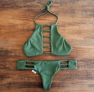 swimwear bikini style bikini bottoms bikini top army green summer beautiful swimsuit beach surf high neck cheeky olive green green swimwear top bottoms army green halter top inlovewithit
