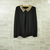 Bright Vintage Sequin Peter Pan Collar Puff Sleeve Sheer Loose Blouse Tops J | eBay