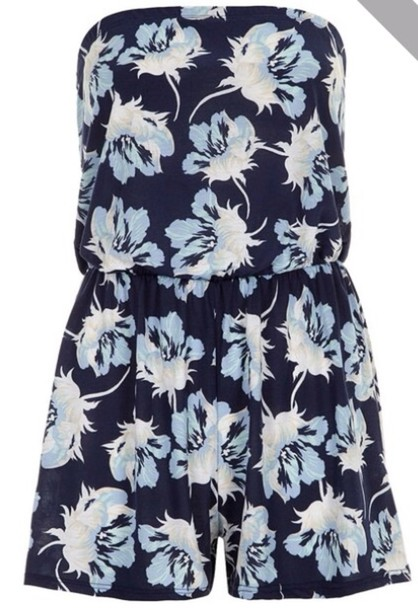 shirt blue and white floral romper blouse blue floral romper