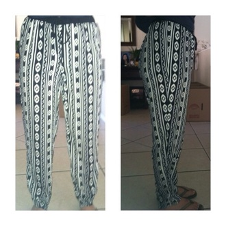 pants boho tribal pattern tribal pattern black and white