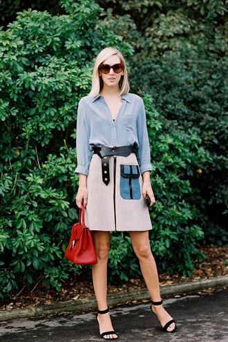 vanessa jackman blogger skirt suede sandals red bag blouse medium-size belt sweater shoes zipped skirt zip-up skirt grey skirt a line skirt belt black belt blue shirt handbag sunglasses brown sunglasses