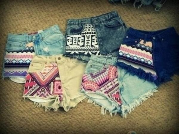 shorts colorful summer jeans hot geometric denim