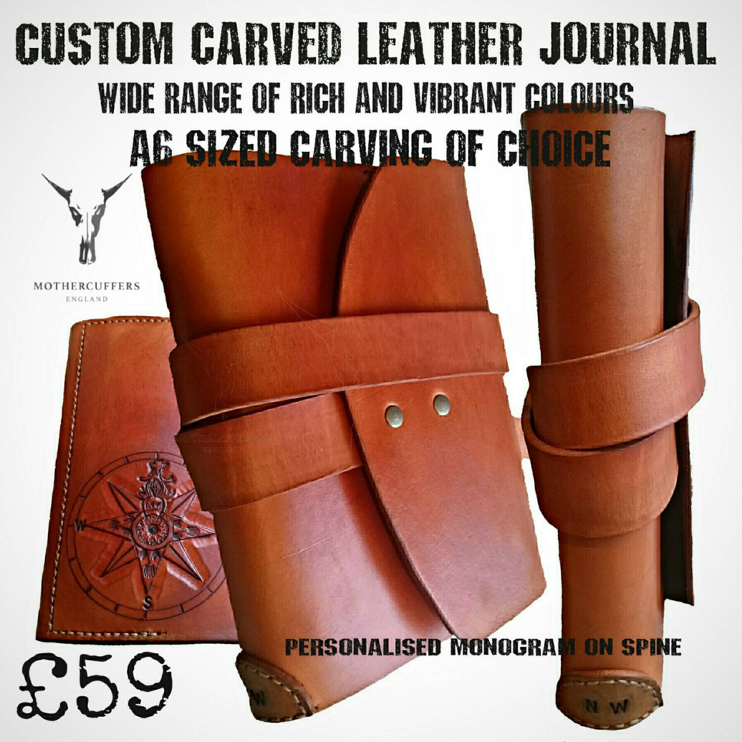 Compass design hand carved vegetable tanned leather a5 journal cover, custom designs available. half cover sized carving.
