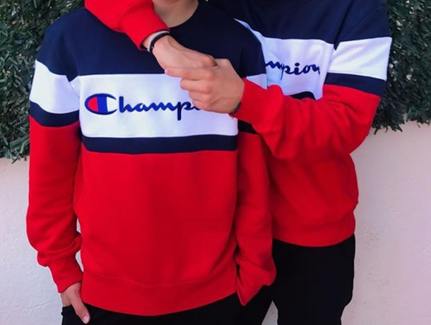17a03be50 sweater, champion, red, blue, white, champion sweatshirt, shirt ...